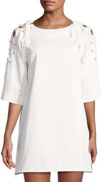 J.o.a. Cotton Lace-Up-Sleeve Shift Dress