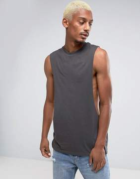Asos Longline Tank With Extreme Dropped Armhole In Black