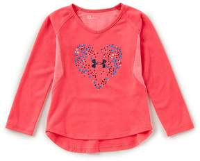 Under Armour Little Girls 2T-6X Astro-Dot-Heart Long-Sleeve Tee