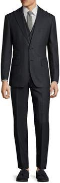 English Laundry Men's Wool Speckled Double Breasted Three Piece Suit