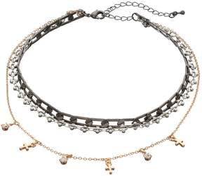 Mudd Tri Tone Cross Multi Strand Choker Necklace