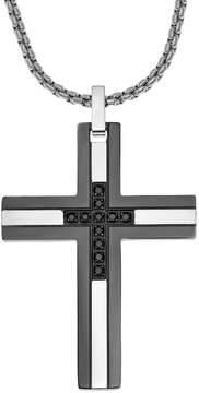 Lynx Men's Two Tone Stainless Steel 1/6 Carat T.W. Black Diamond Cross Pendant