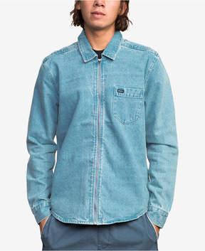 RVCA Men's Hex Zip-Front Denim Shirt