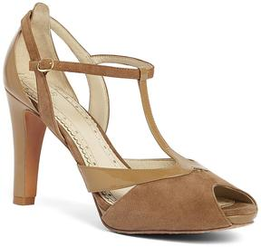 Brooks Brothers Suede Peep Toe T-Strap