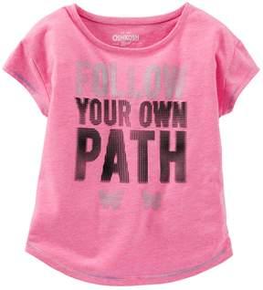 Osh Kosh Girls 4-8 Follow Your Own Path Dot Graphic Neon Active Tee