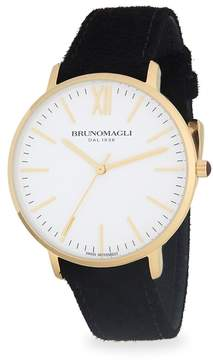 Bruno Magli Men's Stainless Steel and Gold Ion Plated Slim Leather-Strap Watch