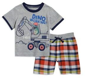 Nannette Baby Boy's Dinosaur Graphic Tee and Plaid Shorts Set