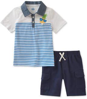 Kids Headquarters Pineapple Polo & Shorts Set, Baby Boys
