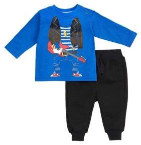 Petit Lem Baby Boy's Two-Piece Graphic Front Top and Ribbed Jogger Pants Set