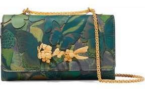 Valentino Va Va Voom Leather-Appliquéd Printed Canvas Shoulder Bag