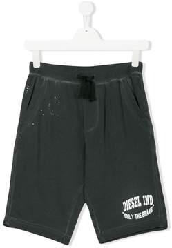 Diesel Teen logo print jersey shorts