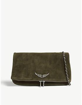 Zadig & Voltaire Taupe Brown Rock Suede Clutch Bag