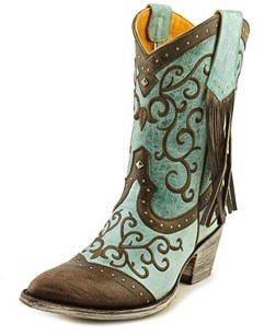 Old Gringo Bacu 10 Women Pointed Toe Leather Blue Western Boot.
