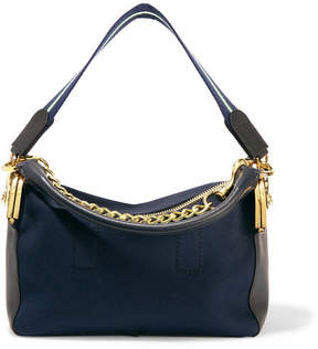 Sacai Leather-trimmed Canvas Shoulder Bag - Navy