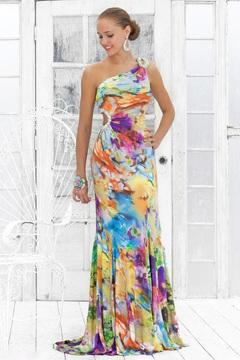 Blush Lingerie One Shoulder Floral Printed Long Dress 9303