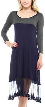 Celeste Navy & Charcoal Sheer-Hem Shift Dress - Women