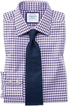 Charles Tyrwhitt Slim Fit Non-Iron Gingham Purple Cotton Dress Shirt Single Cuff Size 15.5/33