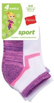 Hanes Girls' Sport Ankle Socks, 4 Pack
