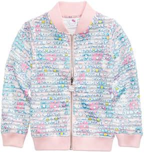 Hello Kitty Printed Shadow-Stripe Scuba Bomber Jacket, Toddler Girls