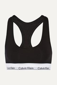 Calvin Klein Underwear Modern Cotton Stretch Cotton-blend Soft-cup Bra - Black