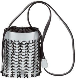 Paco Rabanne Mini Metallic Leather Bucket Bag, Silver