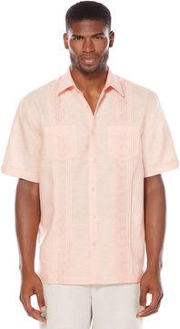 Cubavera Short Sleeve 2 Pocket Tucks Geo Embroidered Shirt