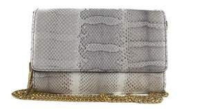 Roberto Cavalli White Leather Snake Embossed Clutch Shoulder Bag