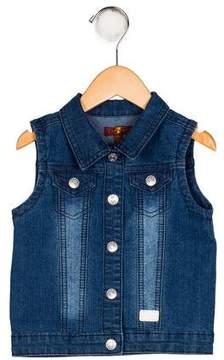 7 For All Mankind Girls' Denim Collared Vest