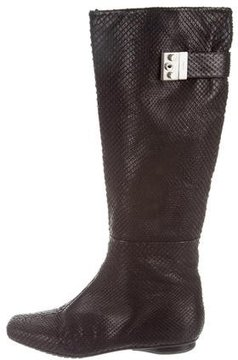 Calvin Klein Collection Snakeskin Knee-High Boots