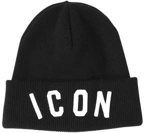 DSQUARED2 Icon Embroidered Wool Knit Beanie Hat