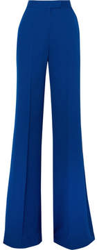Elie Saab Silk Crepe De Chine Flared Pants - Blue
