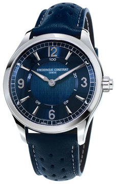 Frederique Constant 42mm Horological Smart Watch with Leather Strap, Navy Blue