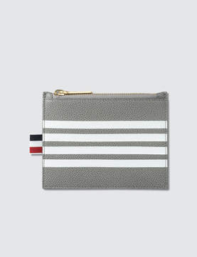 Thom Browne Pebble Grain and Calf Leather Small Coin Purse (14.5 cm) with Contrast 4 Bar Stripe