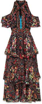 Etro Cold-shoulder Printed Silk-georgette Maxi Dress - Black