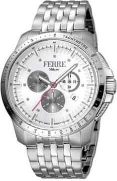 Ferré Milano Men's Swiss Made Swiss Quartz Silver Stainless Steel Bracelet Watch.
