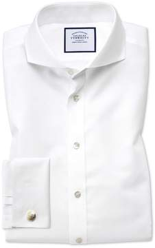 Charles Tyrwhitt Slim Fit Extreme Spread Collar Non-Iron Twill White Cotton Dress Shirt Single Cuff Size 15/33