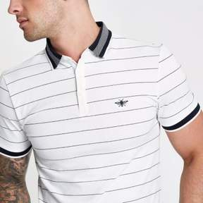 River Island Mens White stripe muscle fit polo shirt