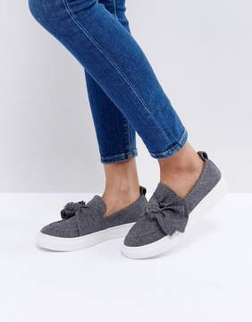 Glamorous Gray Knotted Bow Slip On Sneaker