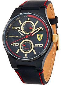 Ferrari Men's Black Leather Strap Speciale Multi Watch
