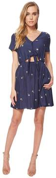 J.o.a. Button Up Dress with Cut Out Waist and Tie Detail Women's Dress