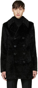 Saint Laurent Black Faux-Fur Peacoat