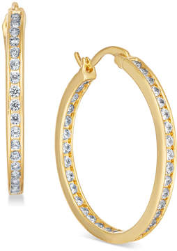 Essentials Silver Plated Crystal Inside Out Hoop Earrings