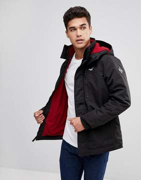 Hollister Fleece Lined Bomber Hooded in Black