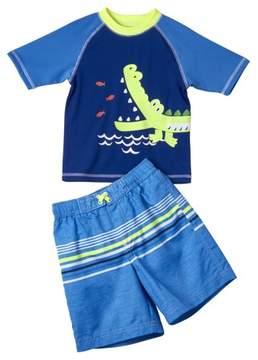 Trunks Wippette Baby Toddler Boy Aligator Rashguard & Swim Trunks, 2pc Set