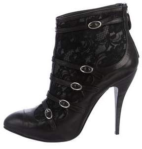 Just Cavalli Lace-Accented Leather Ankle Boots