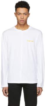 Helmut Lang White Long Sleeve Logo T-Shirt