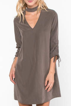 Everly V Neck Mocha Dress