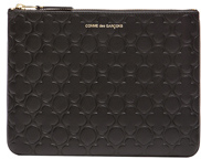 Comme des Garcons Clover Embossed Pouch in Black.