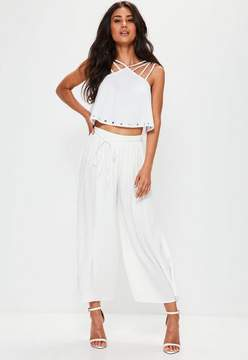 Missguided White Pleated Skinny Tie Belt Culottes