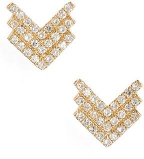 Ef Collection Women's Shield Diamond Stud Earrings